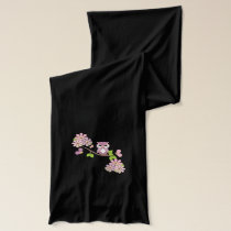 Cute Pink Owls on Branch Scarf