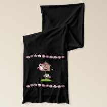 Cute Pink  Owls with Birdhouse Scarf