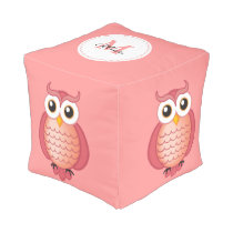 Cute Pink Owls with Monogram Pouf