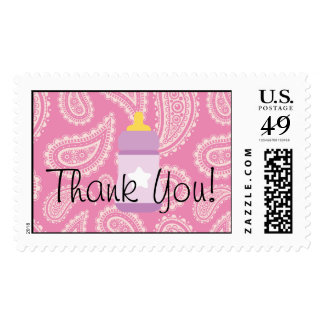 """Cute Pink Paisley Girl Baby Shower """"Thanks"""" Stamp"""