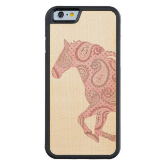 Cute Pink Paisley Horse Carved Maple iPhone 6 Bumper Case