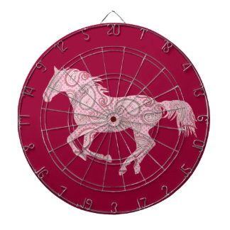 Cute Pink Paisley Horse Dartboard With Darts