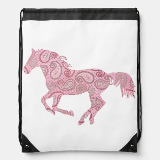 Cute Pink Paisley Horse Drawstring Backpack
