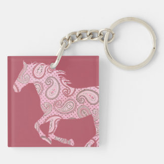 Cute Pink Paisley Horse Double-Sided Square Acrylic Keychain