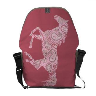 Cute Pink Paisley Horse Messenger Bag