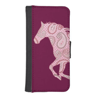 Cute Pink Paisley Horse iPhone 5 Wallet Case