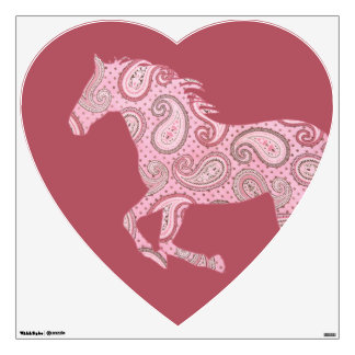 Cute Pink Paisley Horse Room Stickers
