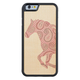 Cute Pink Paisley Horse Carved® Maple iPhone 6 Bumper
