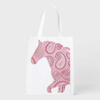 Cute Pink Paisley Horse Grocery Bag