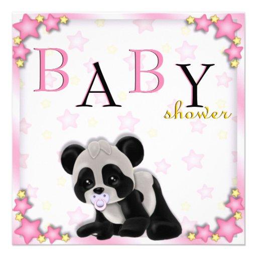cute pink panda bear baby shower invite square invitation card