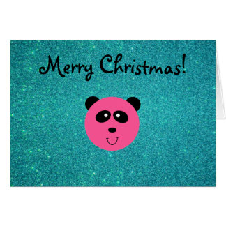 Cute pink panda face turquoise glitte greeting card