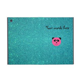 Cute pink panda face turquoise glitte cases for iPad mini