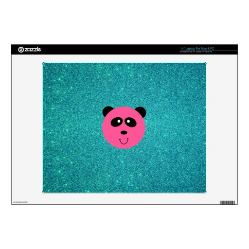 """Cute pink panda face turquoise glitte skins for 14"""" laptops"""