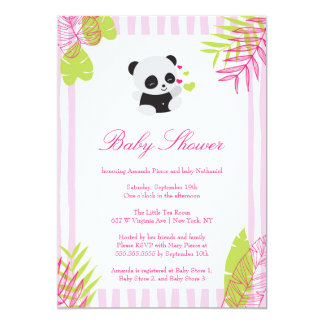 Cute Pink Panda Girl Baby Shower Invitation