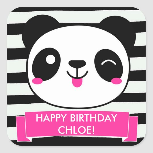 Cute Pink Panda Girls Happy Birthday Stickers