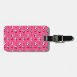 Cute pink panda hearts pattern travel bag tags