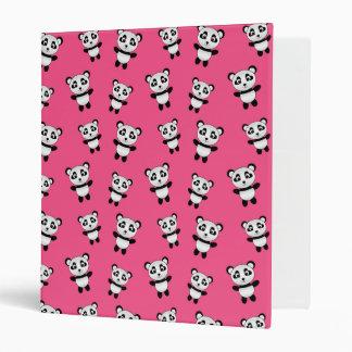 Cute pink panda pattern 3 ring binders