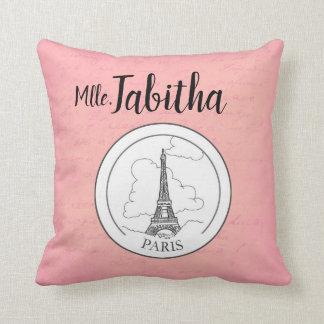 Cute Pink Paris French Eiffel Tower Parisian Decor Throw Pillow