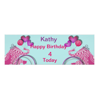 Cute Pink Party Elephant Kids Personalized Banner Poster