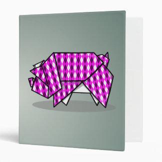 Cute Pink Patterned Paper Pig Binder