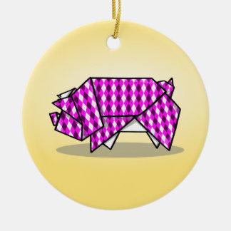 Cute Pink Patterned Paper Pig Ceramic Ornament