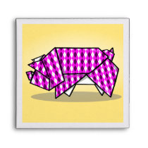 Cute Pink Patterned Paper Pig Envelope