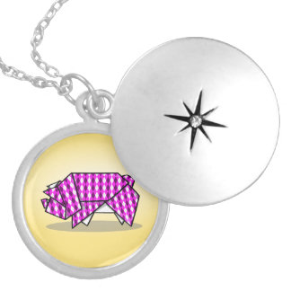 Cute Pink Patterned Paper Pig Silver Plated Necklace