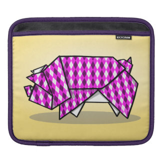 Cute Pink Patterned Paper Pig Sleeve For iPads