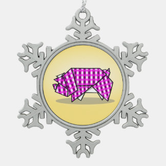 Cute Pink Patterned Paper Pig Snowflake Pewter Christmas Ornament