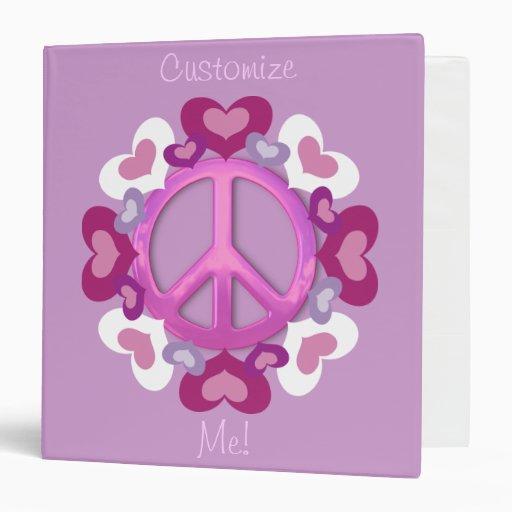 Cute Pink Peace Sign and Hearts Binders