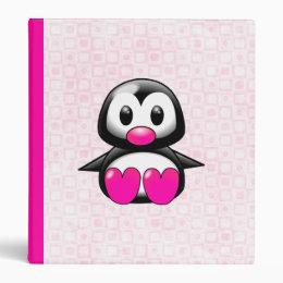 Cute Pink Penguin 3 Ring Binder