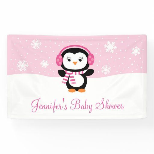 Cute Pink Penguin Baby Shower Banner