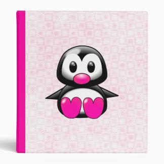 Cute Pink Penguin Binders