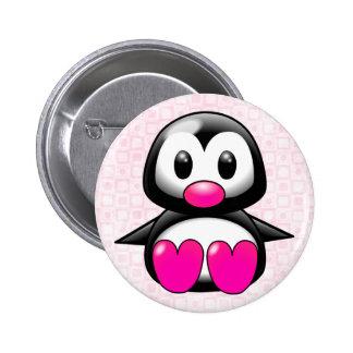 Cute Pink Penguin Button