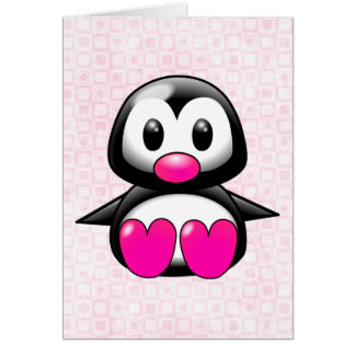 Cute Pink Penguin Greeting Card