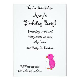 Cute pink penguin personalized invite