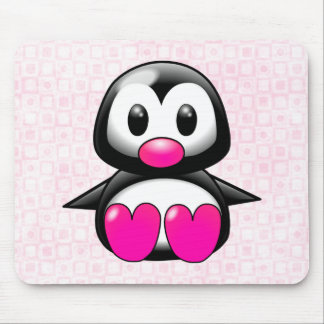 Cute Pink Penguin Mouse Pad
