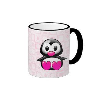Cute Pink Penguin Ringer Mug
