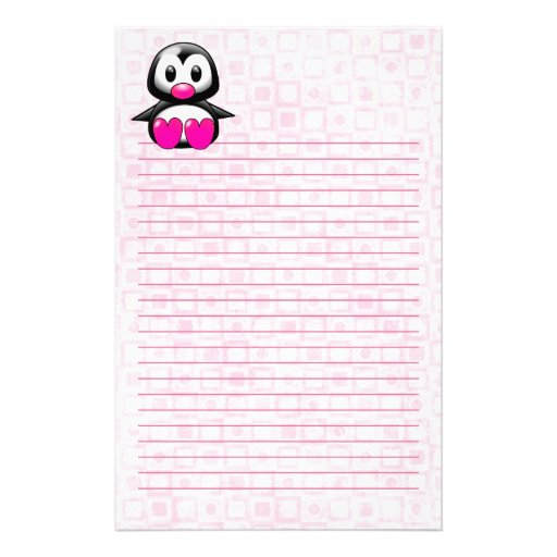 Cute Pink Penguin Stationery