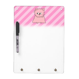 Cute Pink Persian Cat. Pink Striped Background. Dry Erase Board
