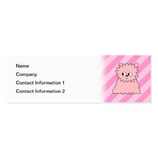 Cute Pink Persian Cat. Pink Striped Background. Mini Business Card