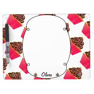Cute Pink Personalized Cupcake Sprinkles Dry Erase Board With Keychain Holder