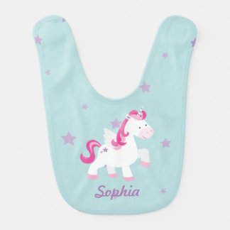 Cute Pink Personalized Magical Unicorn Baby Bib