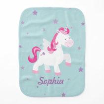 Cute Pink Personalized Magical Unicorn Burp Cloth