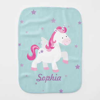 Cute Pink Personalized Magical Unicorn Burp Cloth