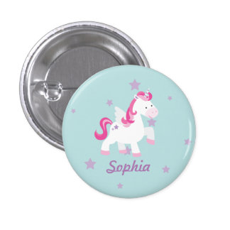 Cute Pink Personalized Magical Unicorn Button/Pin Button