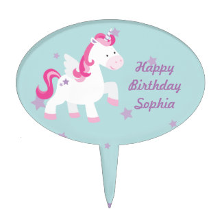 Cute Pink Personalized Magical Unicorn Cakepick