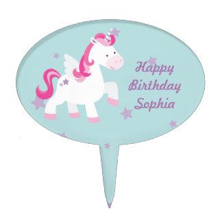 Cute Pink Personalized Magical Unicorn Cakepick