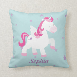 Cute Pink Personalized Magical Unicorn Pillow