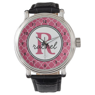 Cute Pink Personalized Monogram Watches